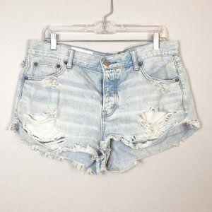 American Eagle | light wash hi rise denim shorts